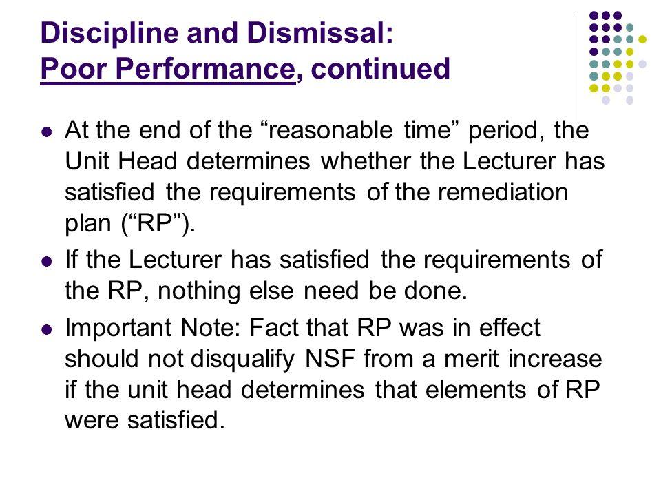 Discipline and Dismissal: Poor Performance
