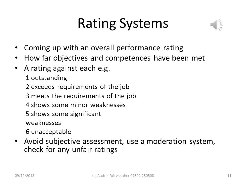 Rating Systems Coming up with an overall performance rating