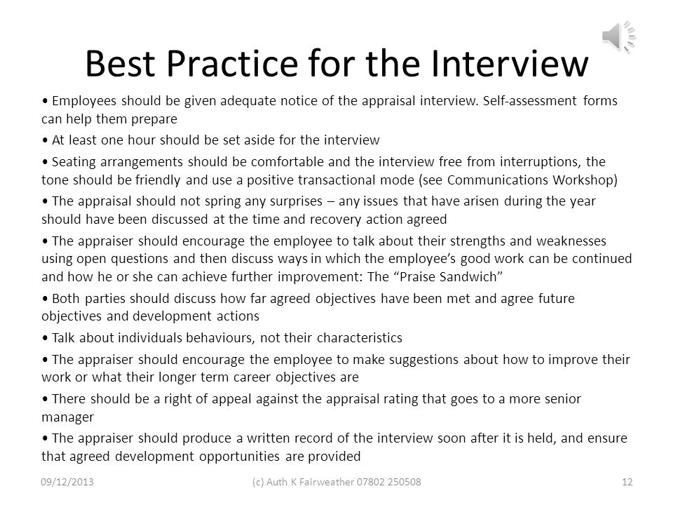 Best Practice for the Interview