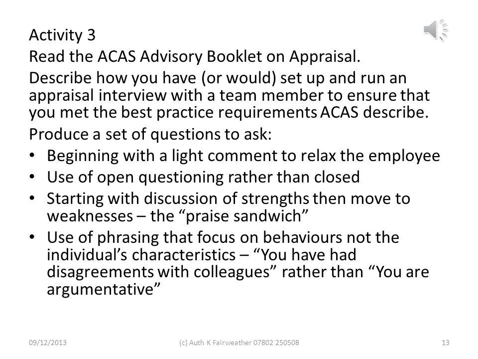 Read the ACAS Advisory Booklet on Appraisal.