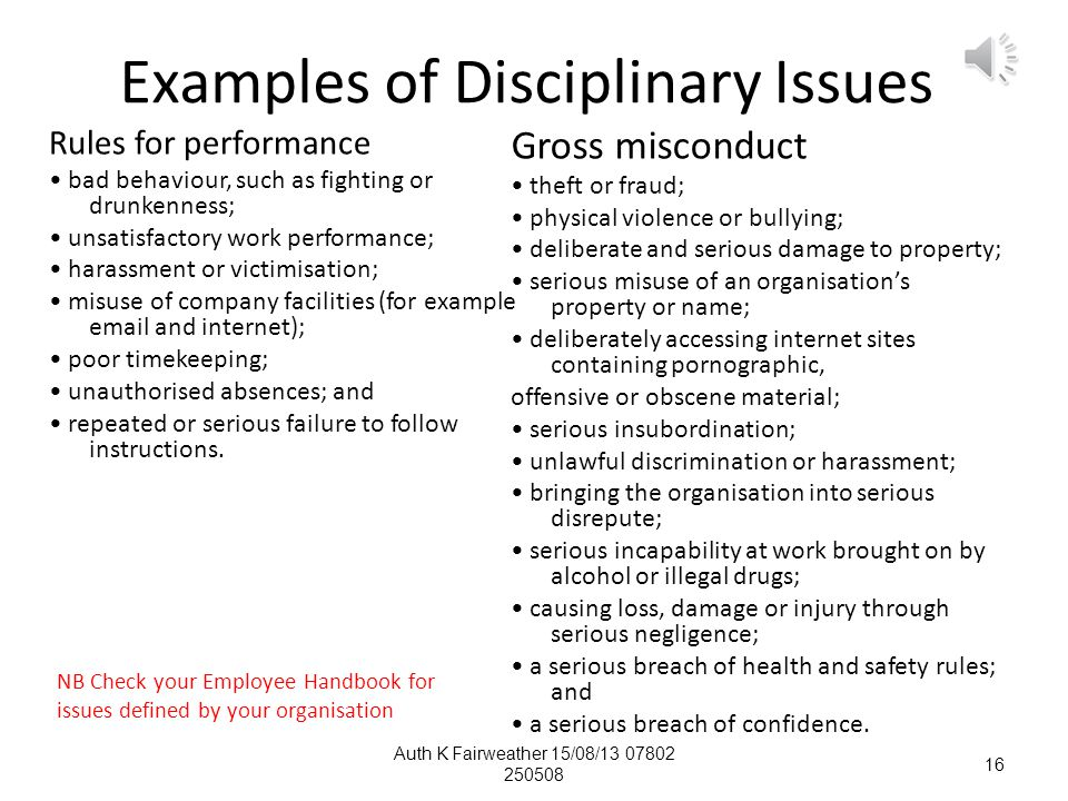 Examples of Disciplinary Issues