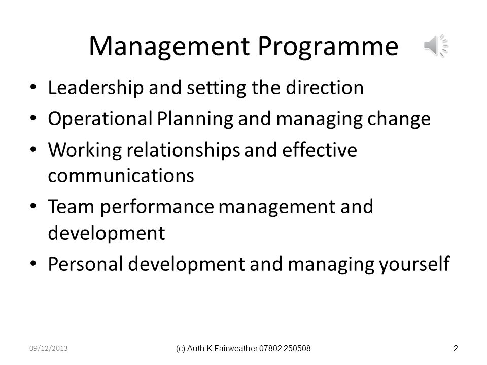 Management Programme Leadership and setting the direction