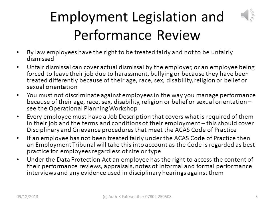 Employment Legislation and Performance Review