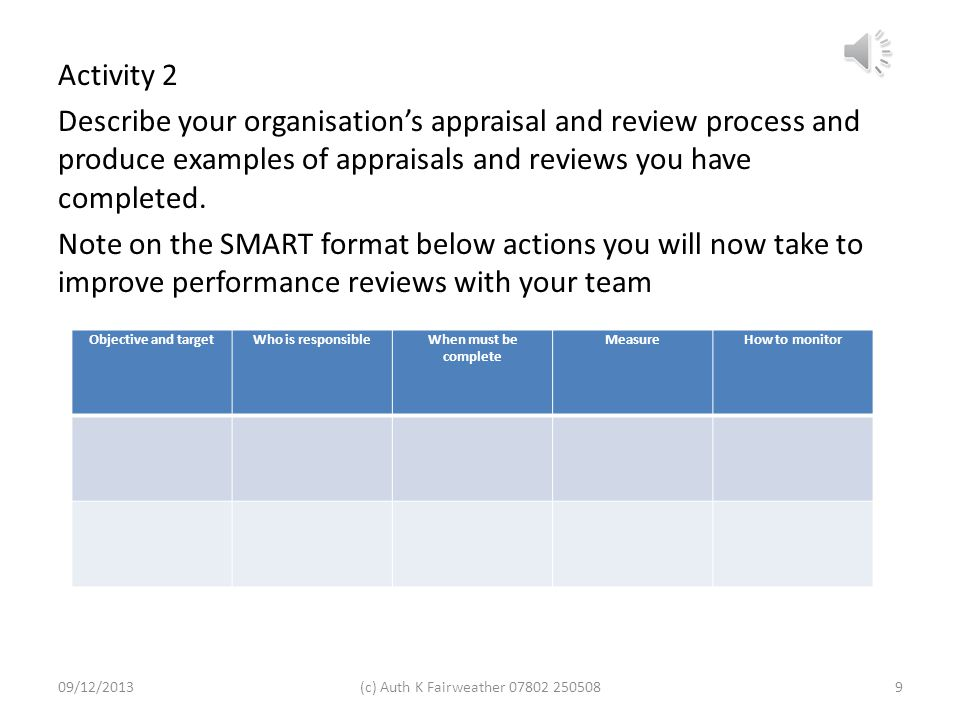 Activity 2 Describe your organisation's appraisal and review process and produce examples of appraisals and reviews you have completed. Note on the SMART format below actions you will now take to improve performance reviews with your team