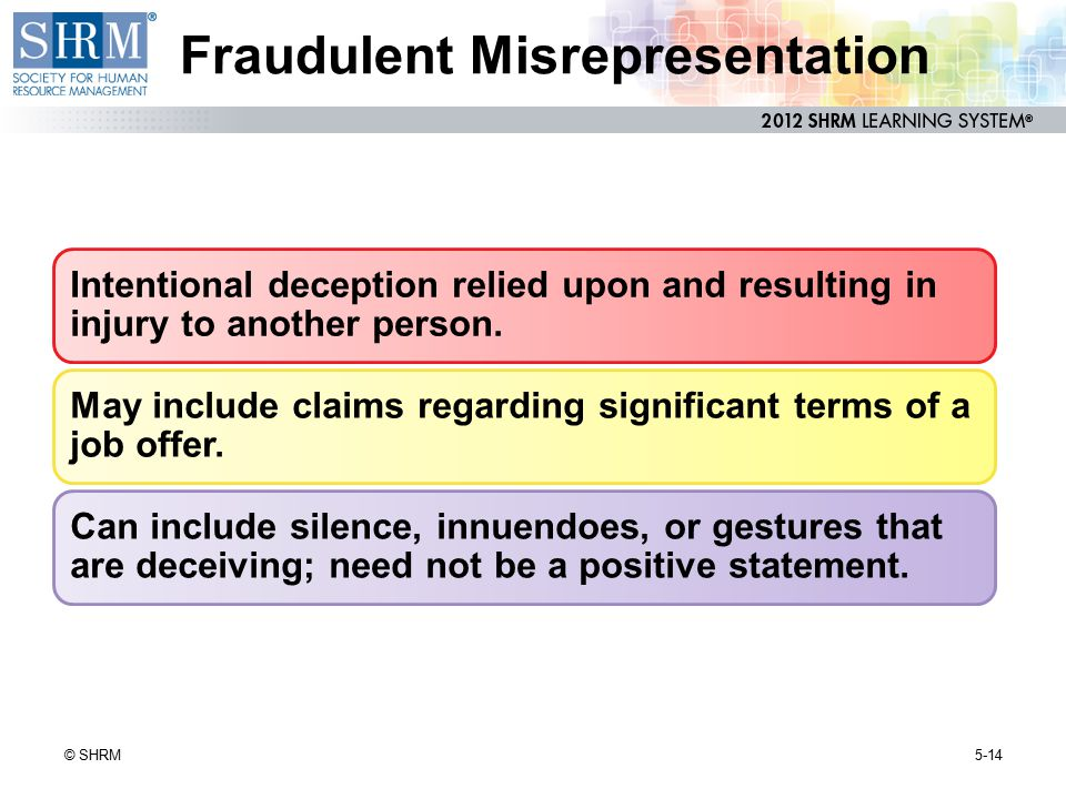 fraudulent misrepresentation Fraudulent and negligent representations in florida law offices of michael d stewart 866-438-6574 wwwthemiamilawcom according to the florida supreme court, the factors to be.