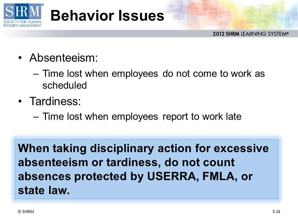 Behavior Issues Absenteeism: Tardiness:
