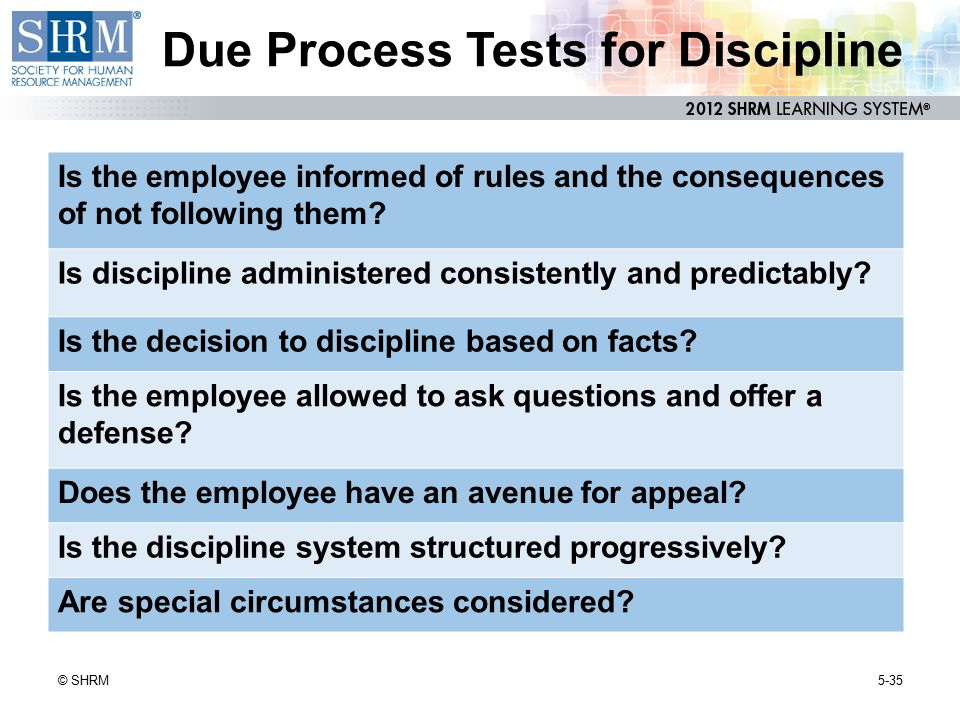 Due Process Tests for Discipline