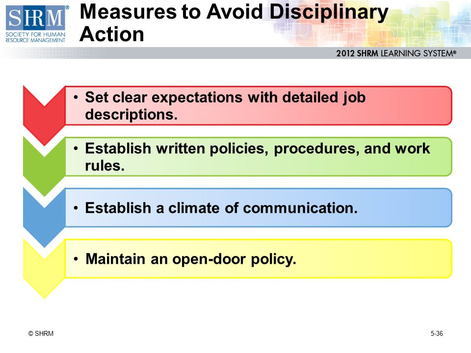 Measures to Avoid Disciplinary Action