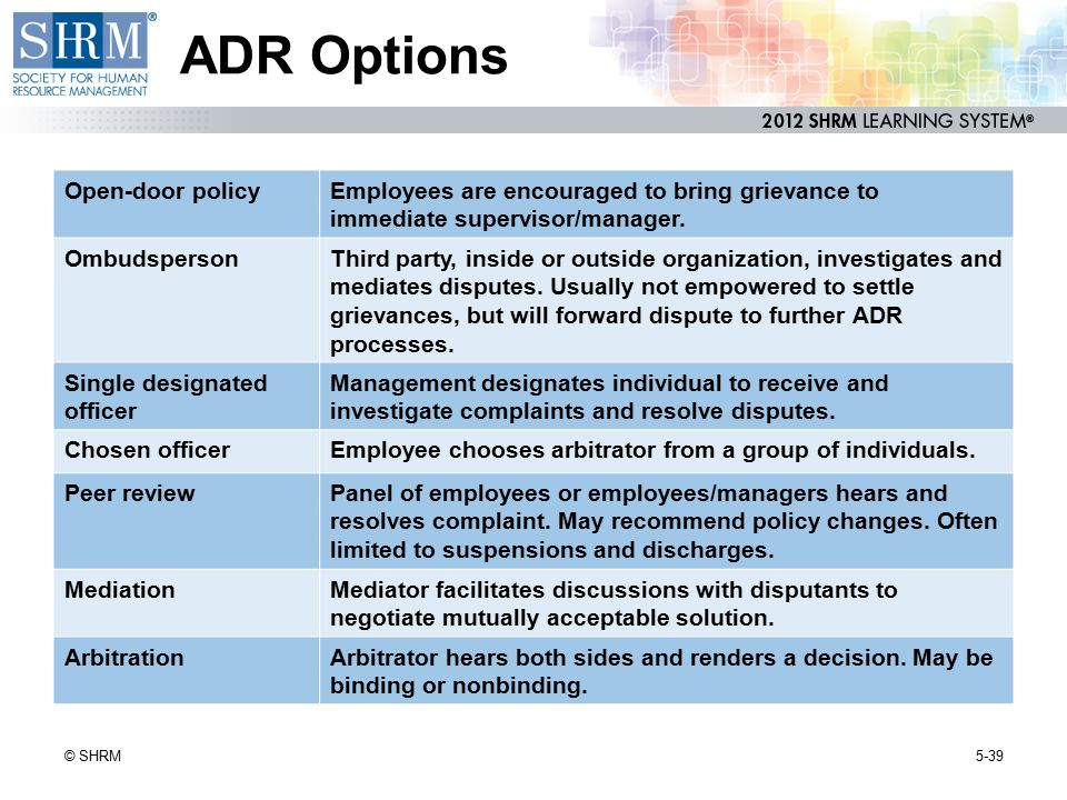 ADR Options Open-door policy