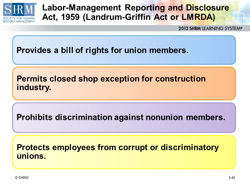 Labor-Management Reporting and Disclosure Act, 1959 (Landrum-Griffin Act or LMRDA)