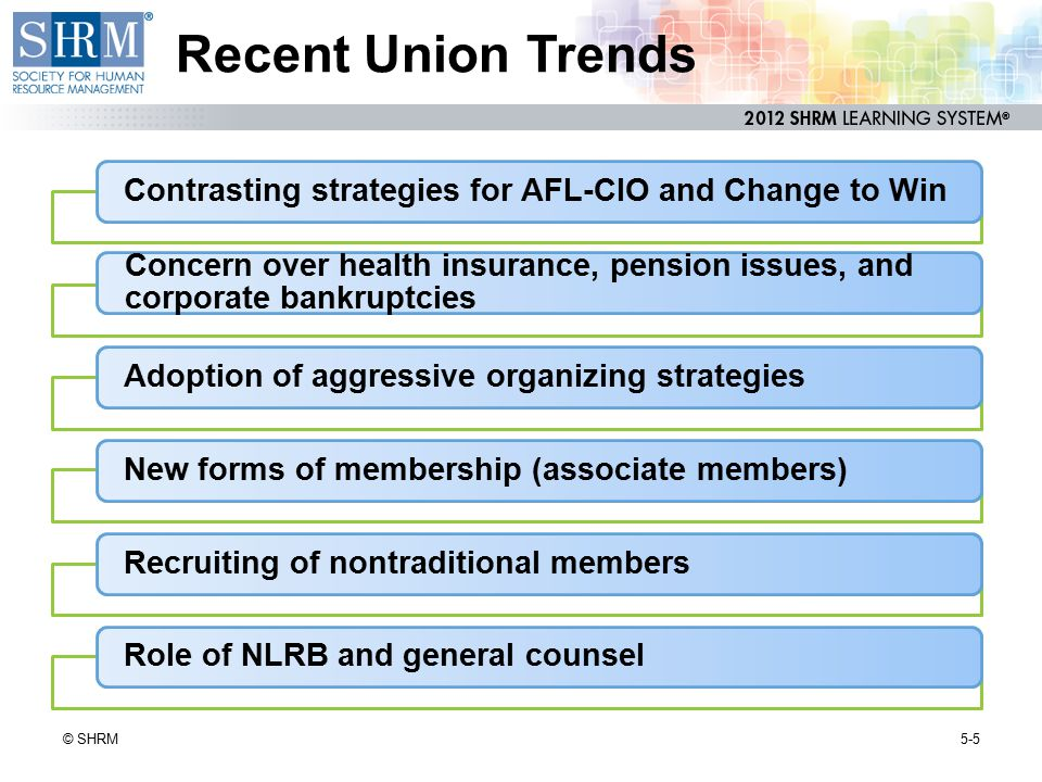 Recent Union Trends Contrasting strategies for AFL-CIO and Change to Win. Concern over health insurance, pension issues, and corporate bankruptcies.