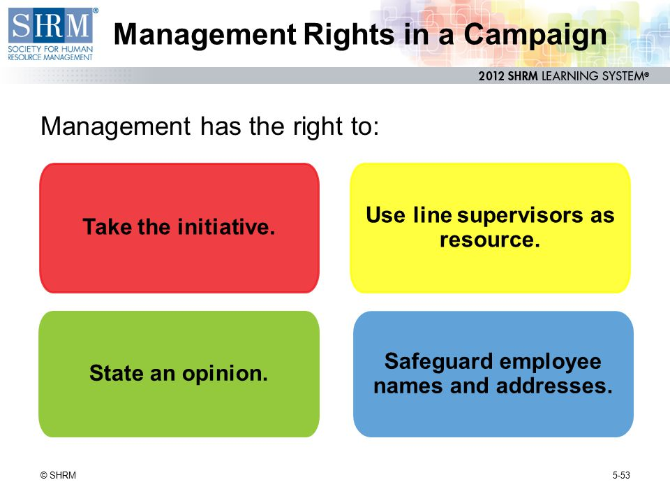 Management Rights in a Campaign