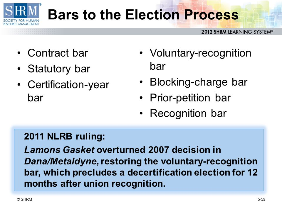 Bars to the Election Process