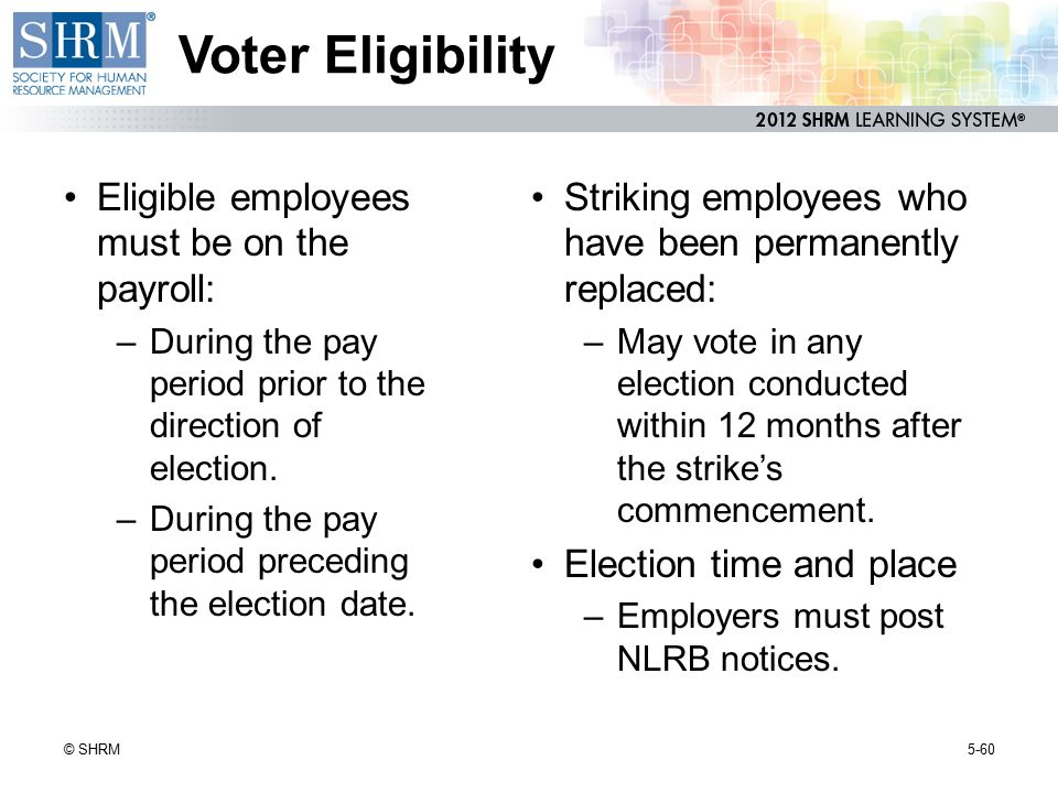 Voter Eligibility Eligible employees must be on the payroll: