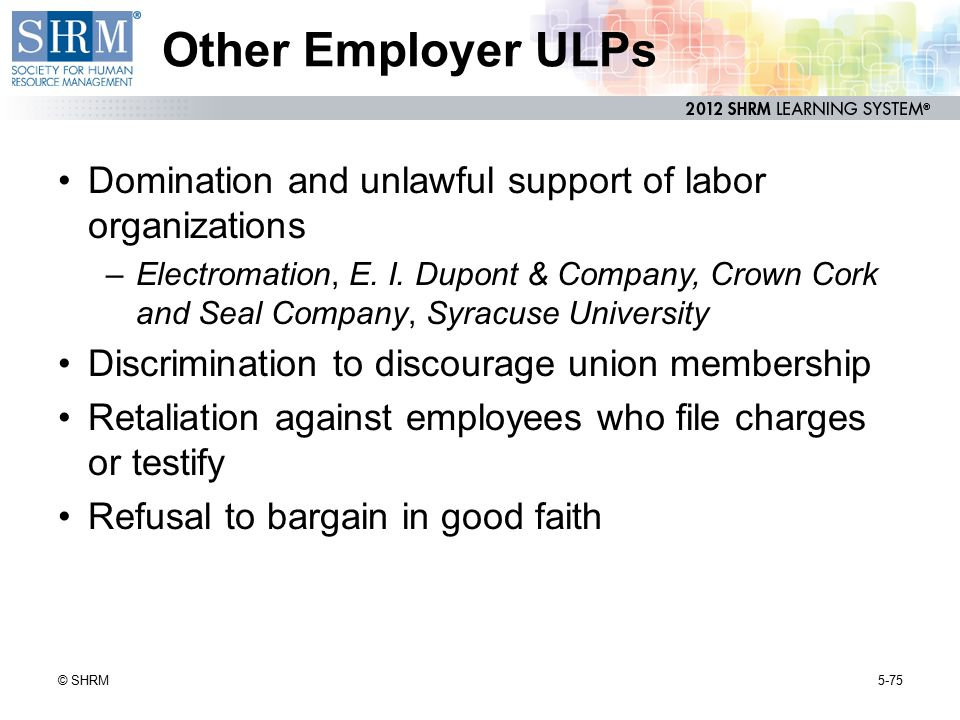 Other Employer ULPs Domination and unlawful support of labor organizations.