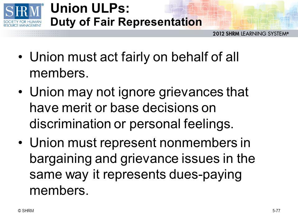 Union ULPs: Duty of Fair Representation
