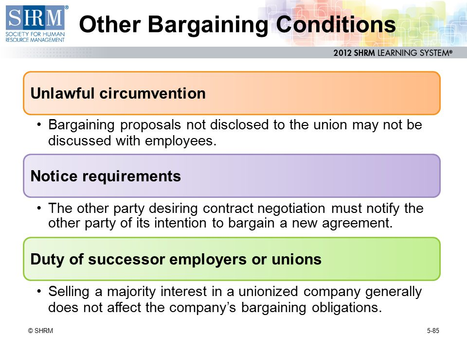 Other Bargaining Conditions