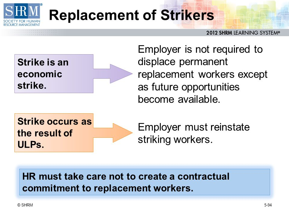 Replacement of Strikers