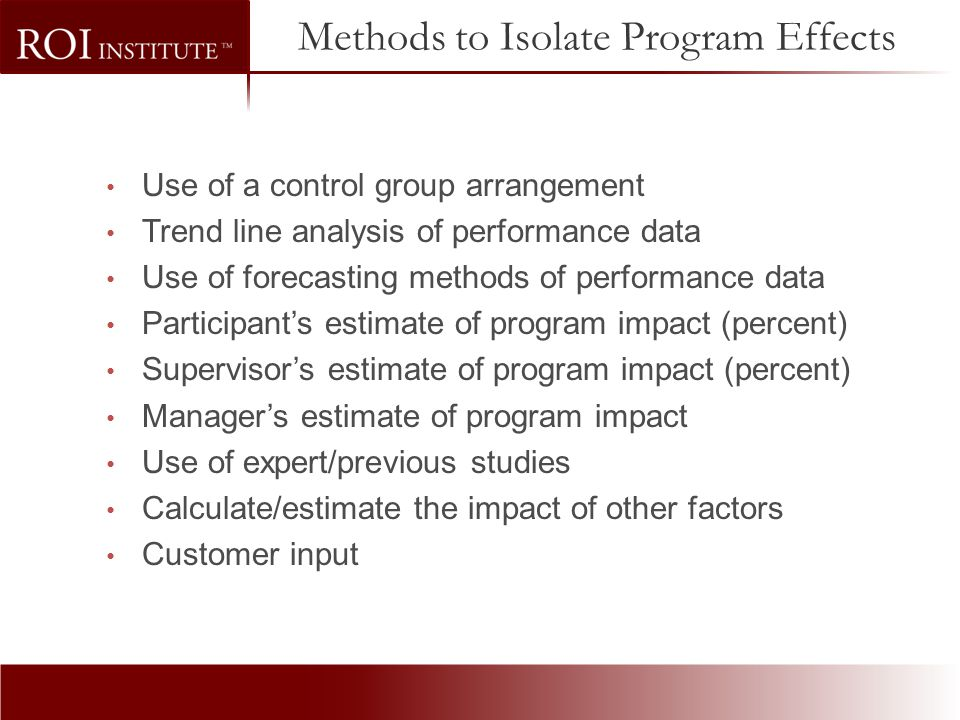 Methods to Isolate Program Effects
