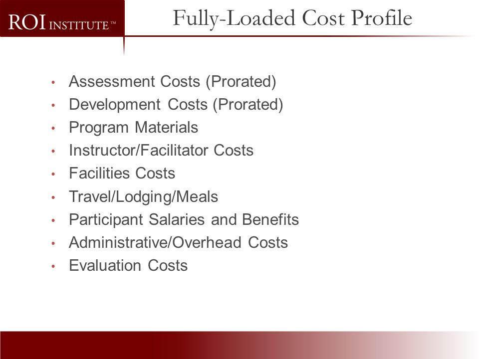 Fully-Loaded Cost Profile