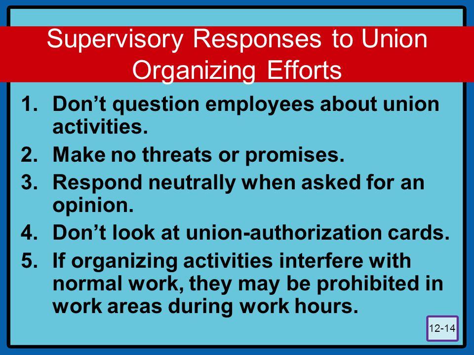 Supervisory Responses to Union Organizing Efforts