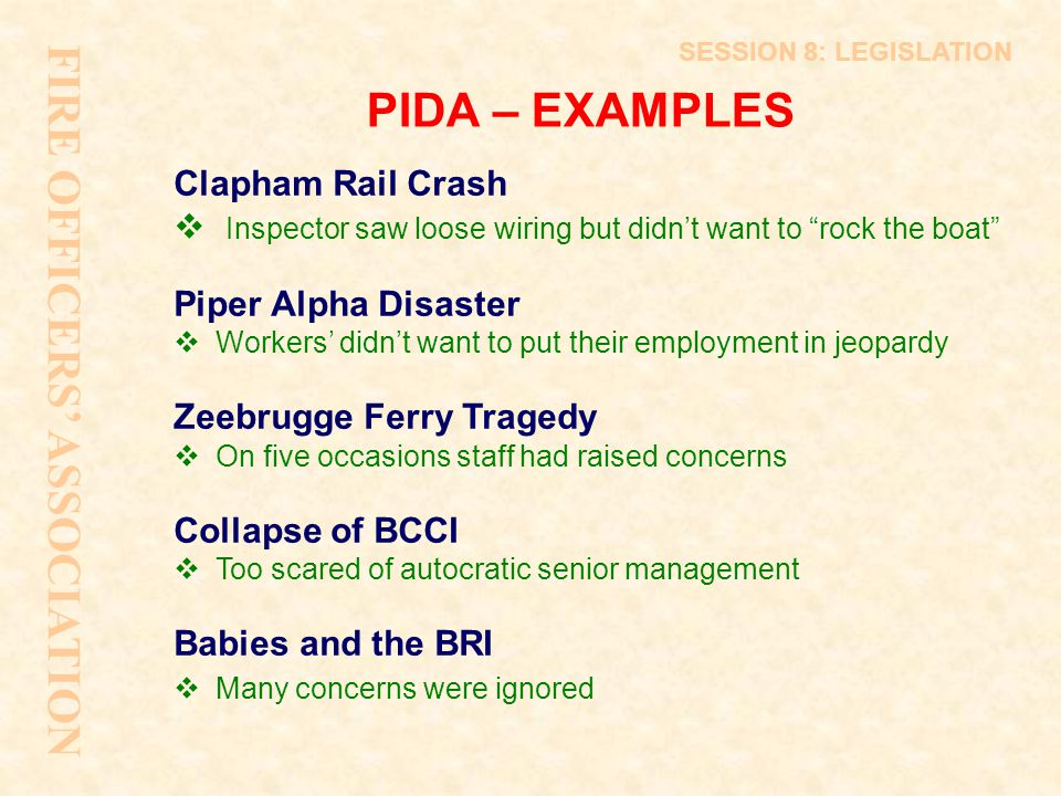 FIRE OFFICERS' ASSOCIATION PIDA – EXAMPLES