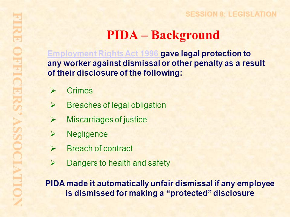 FIRE OFFICERS' ASSOCIATION PIDA – Background