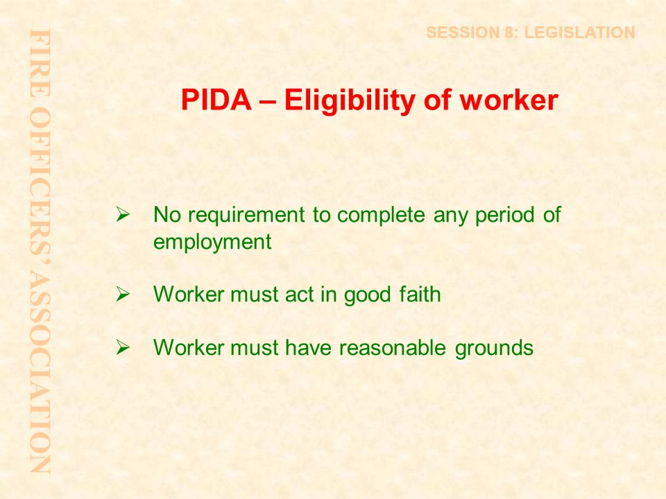 PIDA – Eligibility of worker