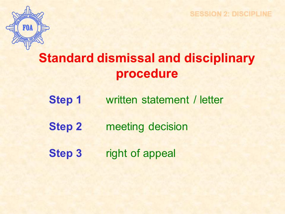 Standard dismissal and disciplinary procedure