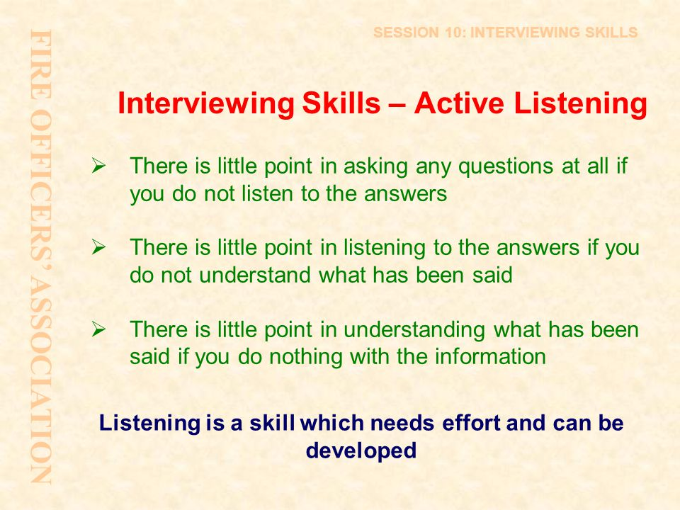 Interviewing Skills – Active Listening