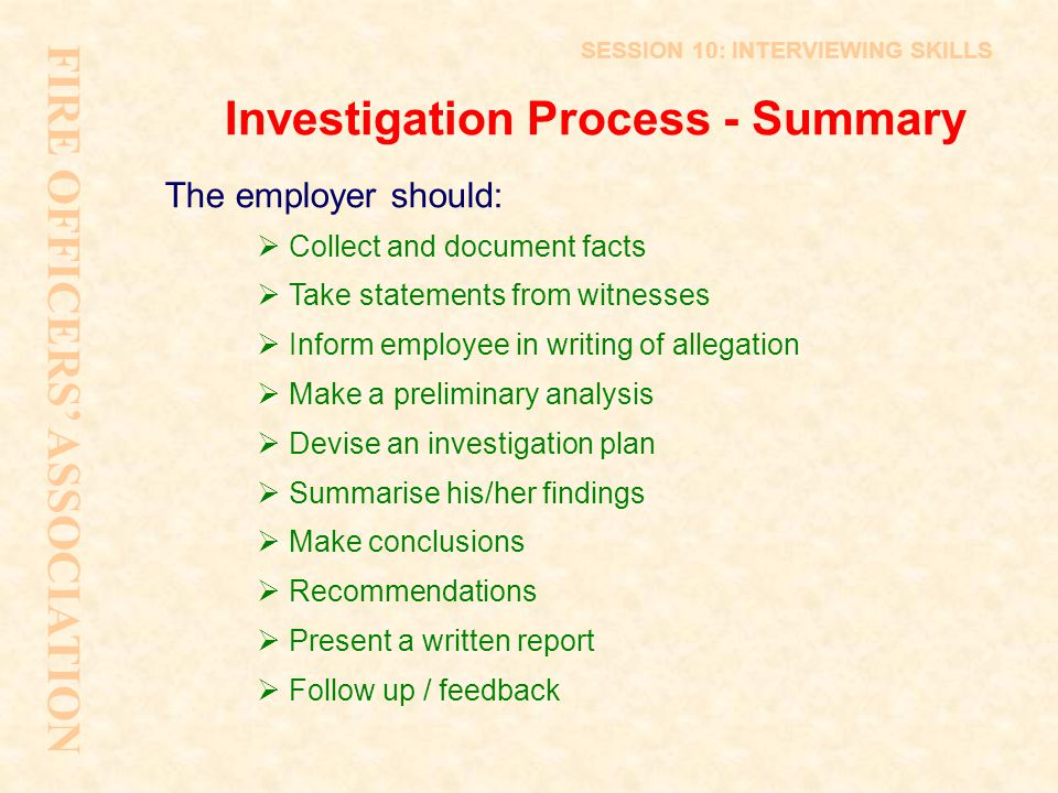 Investigation Process - Summary
