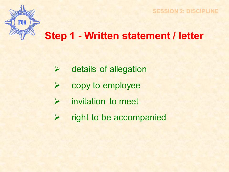 Step 1 - Written statement / letter