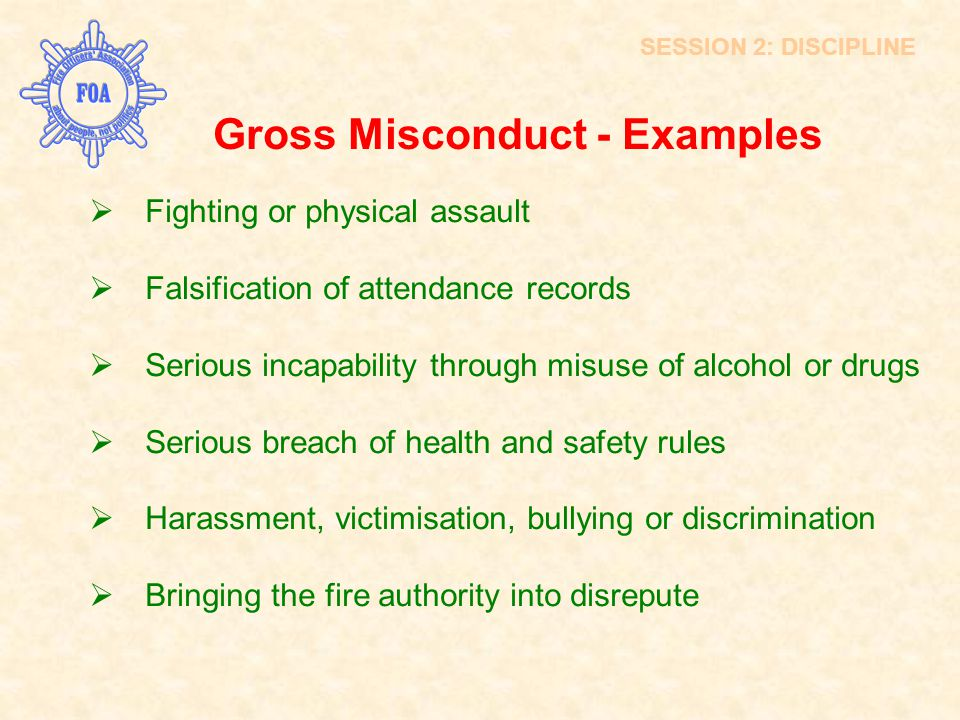 Gross Misconduct - Examples