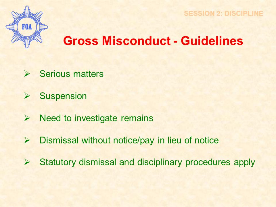 Gross Misconduct - Guidelines