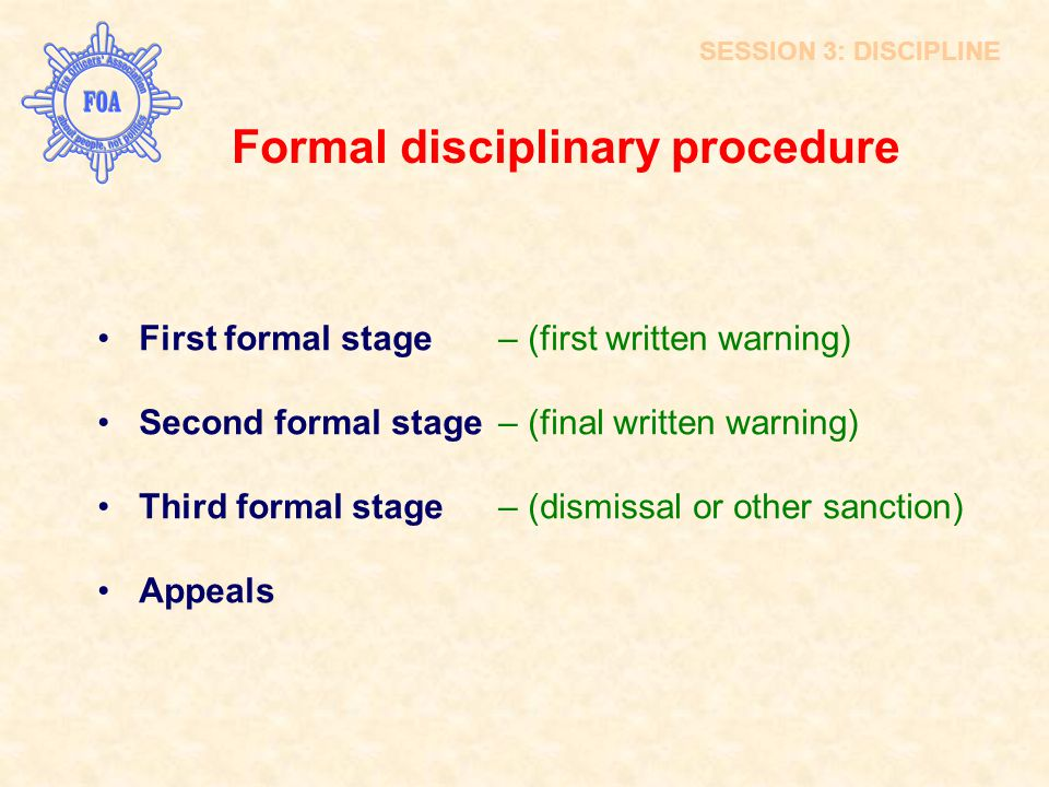 Formal disciplinary procedure