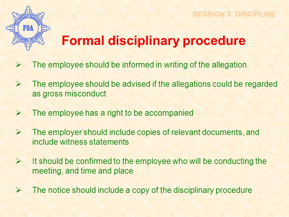 An introduction to the analysis of the disciplinary procedure