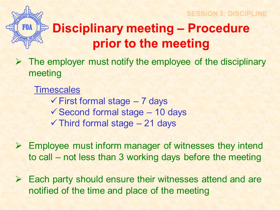 Disciplinary meeting – Procedure prior to the meeting