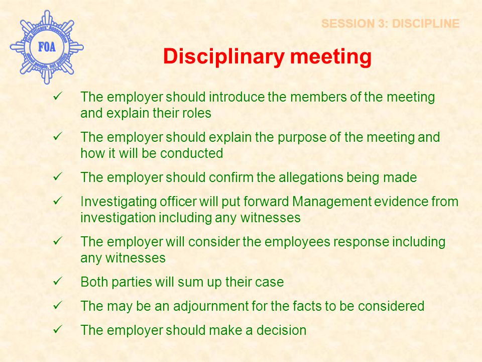 Disciplinary meeting INTRODUCTION