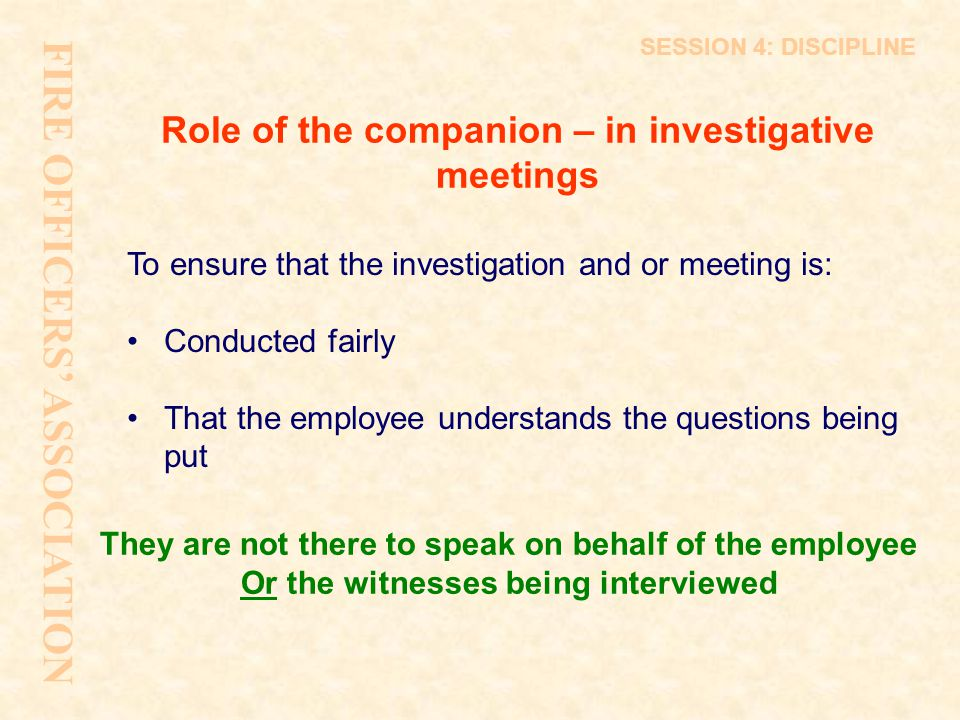 Role of the companion – in investigative meetings