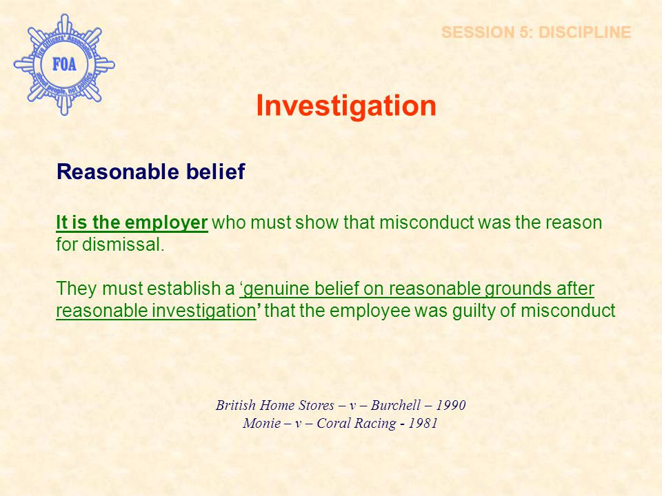 Investigation Reasonable belief