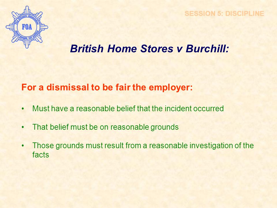 British Home Stores v Burchill: