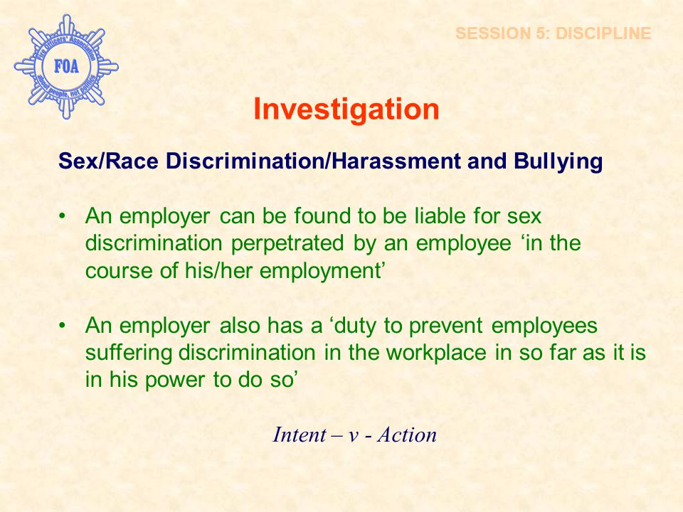 Investigation Sex/Race Discrimination/Harassment and Bullying