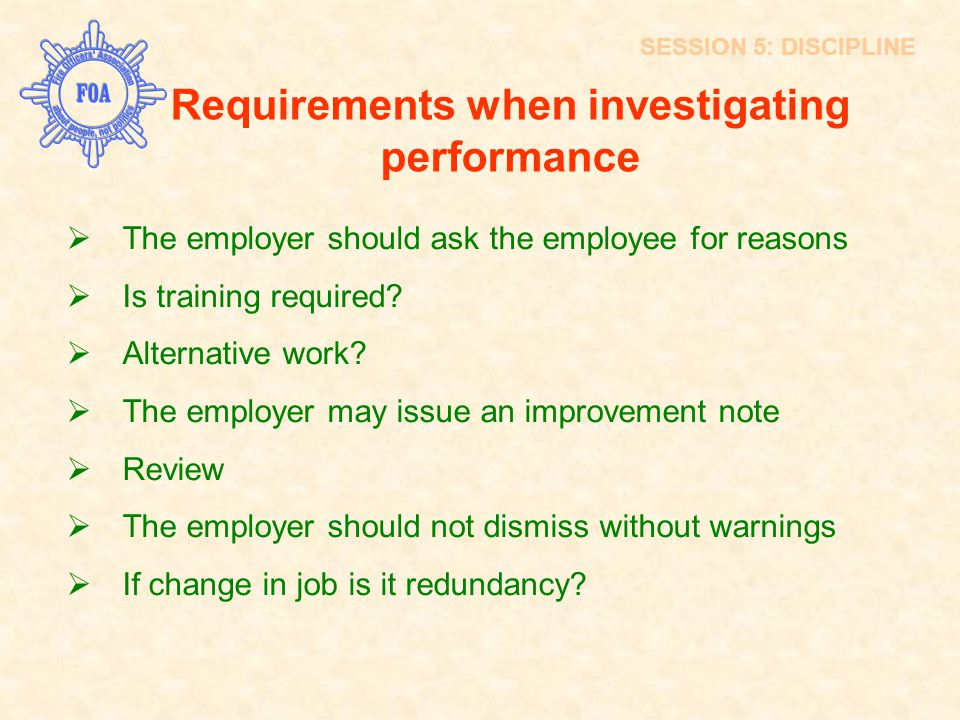 Requirements when investigating performance