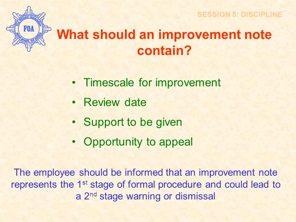 What should an improvement note contain