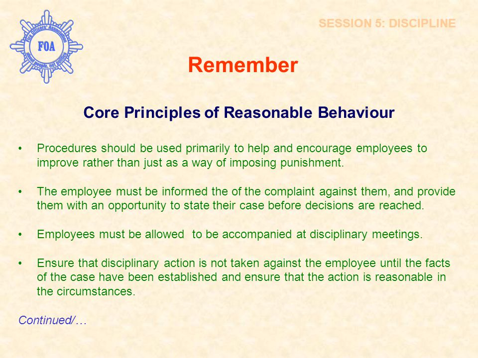 Core Principles of Reasonable Behaviour