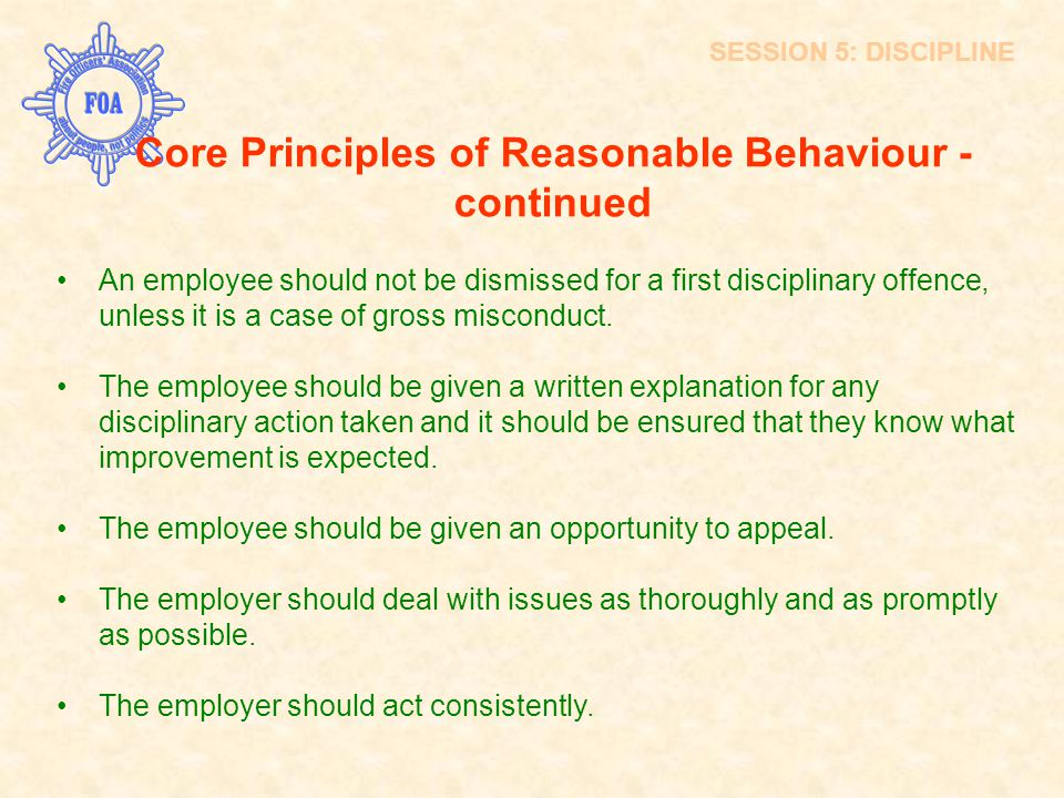 Core Principles of Reasonable Behaviour - continued