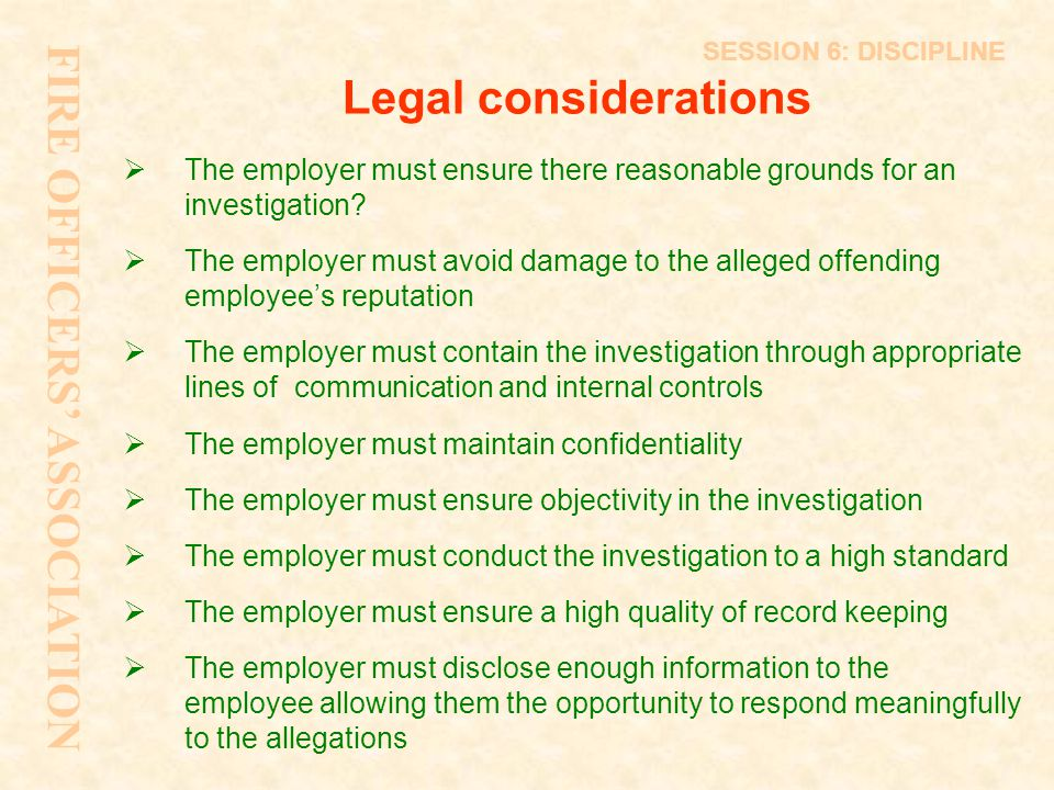 FIRE OFFICERS' ASSOCIATION Legal considerations