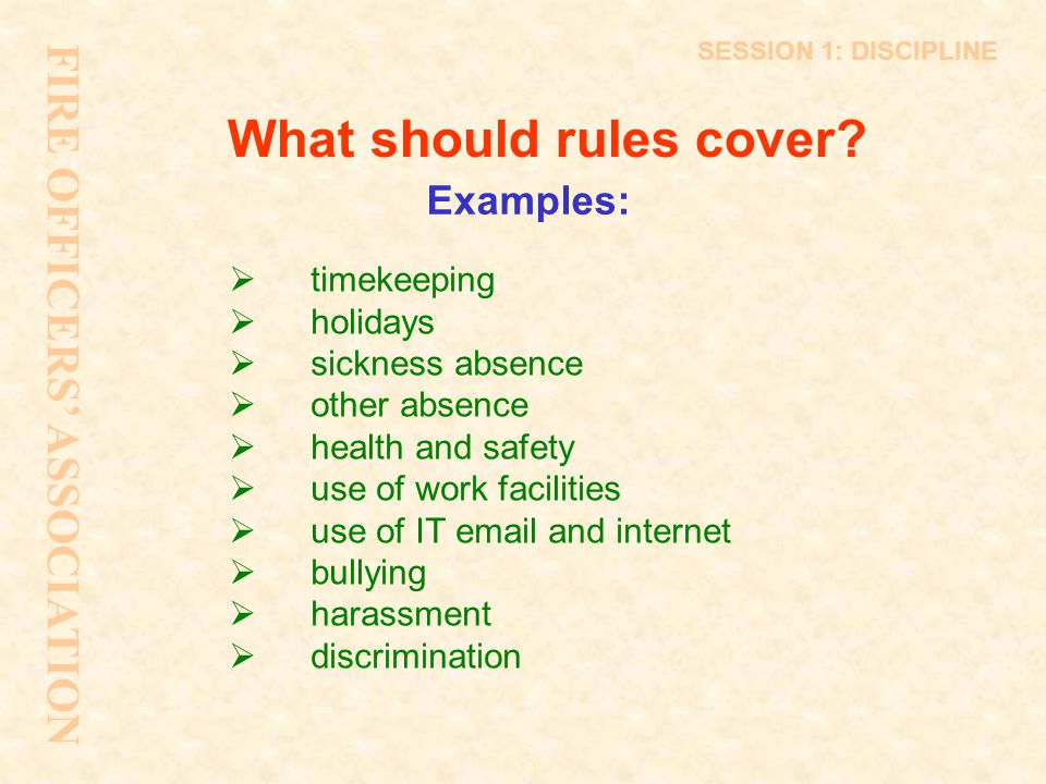 What should rules cover