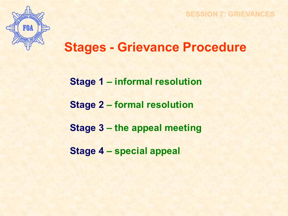 Stages - Grievance Procedure
