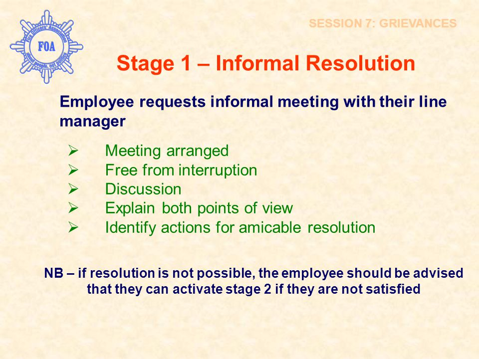 Stage 1 – Informal Resolution